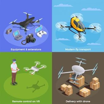 Drohnen isometrische konzept