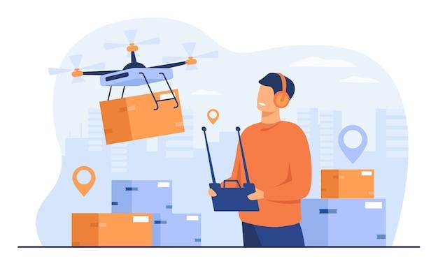Drohnen-lieferkonzept. zusteller, der quadcopter mit post- oder verteilerkasten steuert und mobile maschine an stadtadresse sendet. für versand, moderne technik, servicethemen