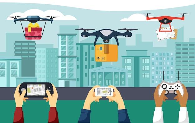 Drohnen liefern pakete illustration. hände halten elektronische bedienfelder und smartphones für die quadcopter-navigation moderne copter-lieferungen von briefen große fracht. vektor-cartoon-innovation.
