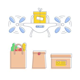 Drohnen-lieferservice, anderes paketset - karton, einkaufstüte, fast-food-pack. automatischer quadcopter, der die sendung befördert. linienillustration.