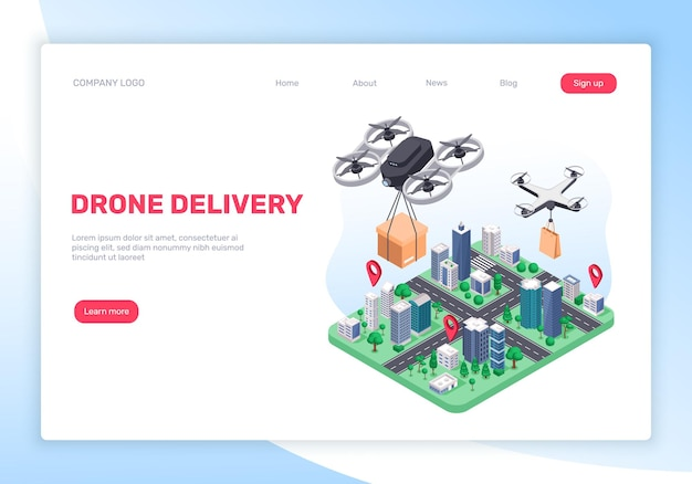 Drohnen-lieferservice-konzept mit fliegenden quadcoptern und stadtplan-landingpage