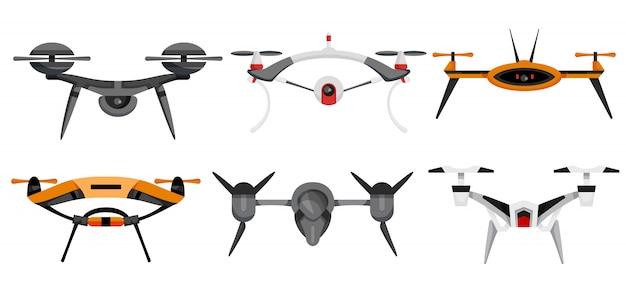 Drohnen. luftdrohnen schweben. luftfahrzeug. unbemannte flugzeuge. set moderner luft-gadjet, quadrocopter auf fernbedienung. flache karikaturart der flugzeugkamera