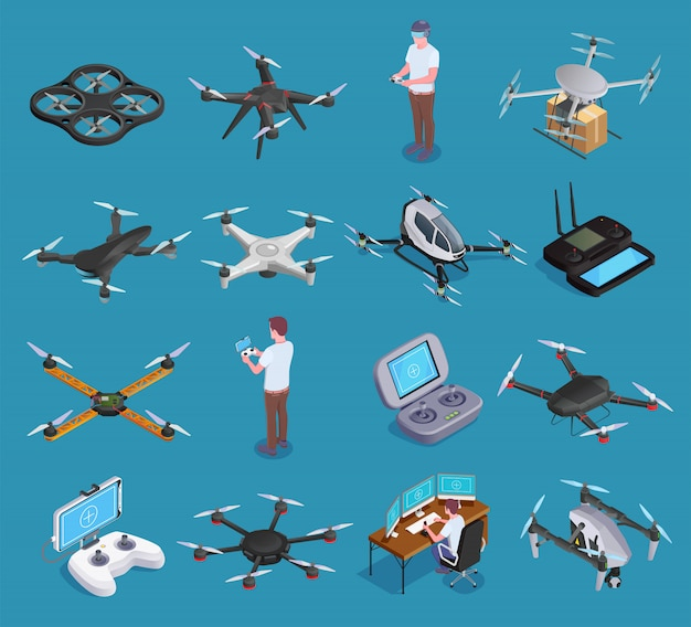Drohnen quadrocopters isometric set