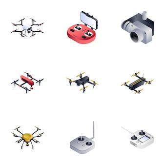 Drohnen-set im isometrischen stil