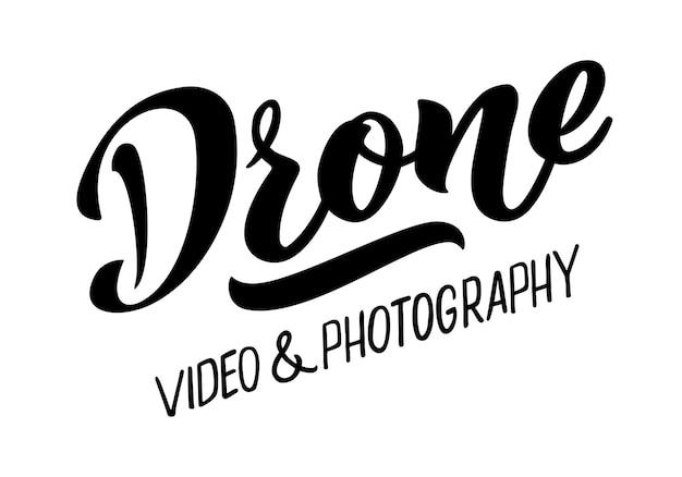 Drohnen-video- und fotografie-vektor-hand-zeichnung-schriftzug für die visitenkarte der projekt-website