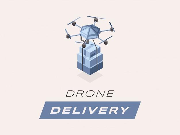 Drohnenanlieferung isometrisch. quadcopter der karikatur 3d mit paketen und kästen lokalisierte illustration.