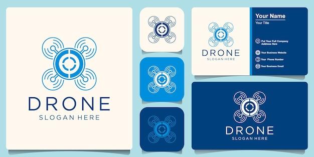 Drohnendesign im zusammenhang mit dem logo des drohnenservice-unternehmens.