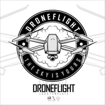 Drohnenflug-logo-vorlage bereites format eps 10