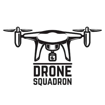 Drohnenillustration auf weißem hintergrund. elemente für logo, etikett, emblem, zeichen. illustration