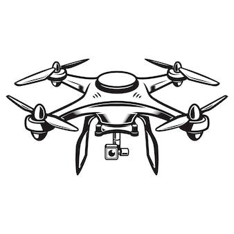 Drohnenillustration auf weißem hintergrund. quadcopter-symbol. element für logo, etikett, emblem, zeichen. illustration
