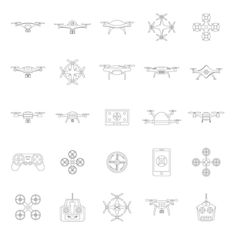 Drohnenkamera quadcopter icons set