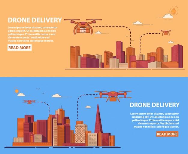 Drohnenlieferpizza der verpackten ware mit lebensmitteln für den kunden. stadtstadtlandschaft mit wolkenkratzern.