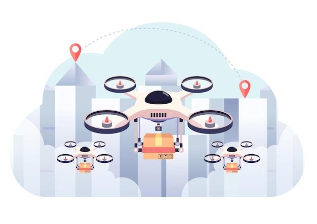 Drohnenlieferung das paket auf stadthintergrund. drohnen-liefergeschäft und versand-innovationskonzept.