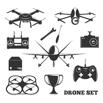 Drone elements monochrome set