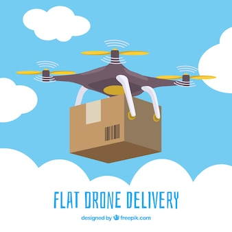 Drone in den himmel mit karton