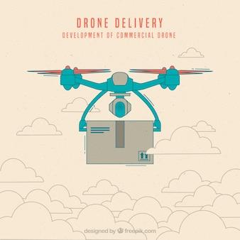 Drone lieferung mit hand gezeichneten stil