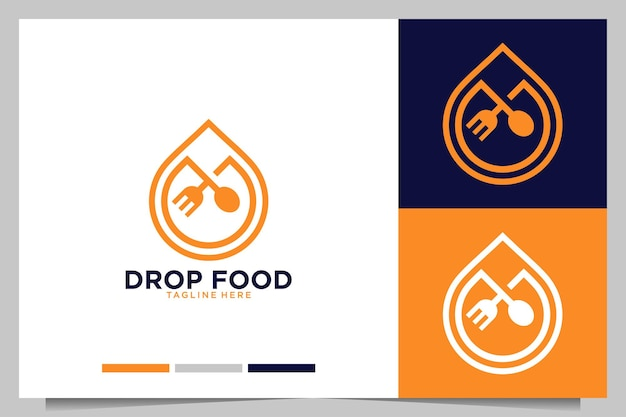 Drop-food mit gabel- und löffel-logo-design