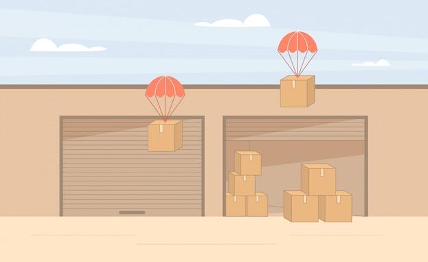 Drop shipping industrie. lagerung von frachtcontainern.
