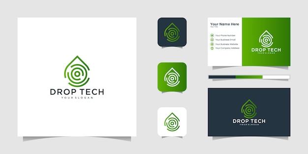Drop tech-logo mit strichzeichnungen und visitenkarten-design, luxus, abstrakt, farbverlauf, symbol und visitenkarte