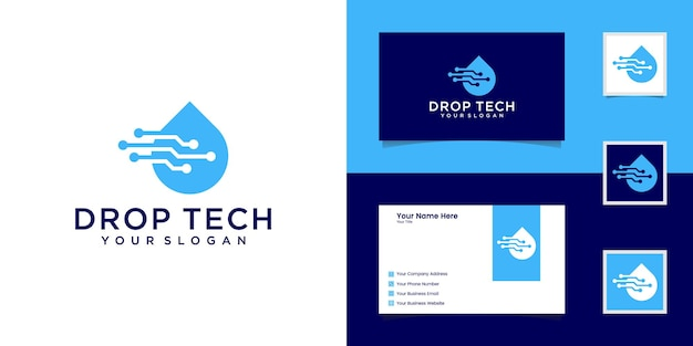 Drop tech-logo mit strichzeichnungen und visitenkarten-design