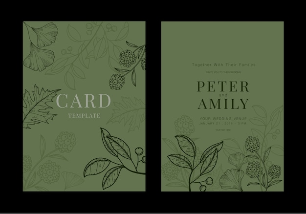 Druckbare hochzeitseinladungskarte mit grünblättern.