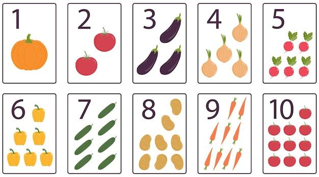 Druckbare zahlen-karteikarten mit gemüse für den vorschulunterricht mathe für kinder von 1 bis 10
