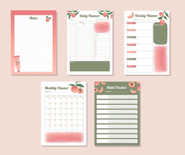 Druckbarer täglicher wöchentlicher monatlicher gewohnheits-tracker-planer mit handgezeichnetem pfirsich-illustrationsdesign