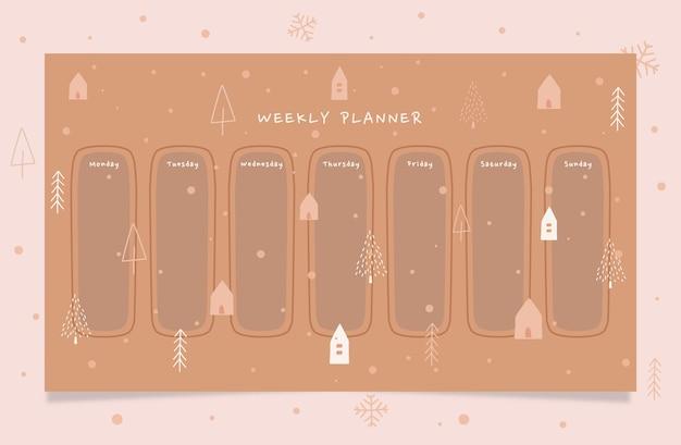 Druckbarer wochenplaner für winterferien mit handgezeichneter illustration in braunen cremefarben.