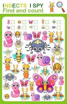 Druckbares arbeitsblatt für kindergarten- und vorschulbuchseite ich spioniere insekten aus