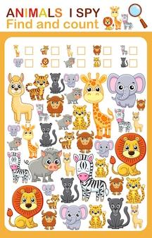 Druckbares arbeitsblatt für kindergarten- und vorschulbuchseite ich spioniere zootier aus