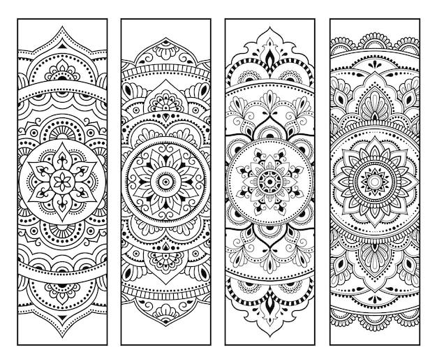 Druckbares lesezeichen für buch - färbung. set aus schwarzen und weißen etiketten mit blumenmustern, handzeichnung im mehndi-stil. skizze von ornamenten für die kreativität von kindern und erwachsenen mit buntstiften.