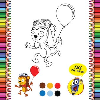 Druckbares malvorlagen-arbeitsblatt, gehirnspiele des schulbedarfs des affen, der ballon hält