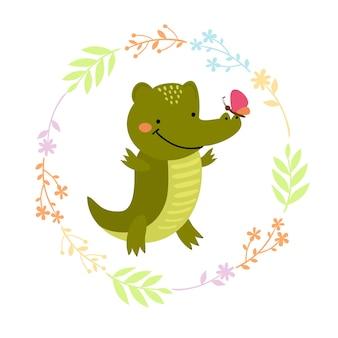 Drucke niedliches krokodil
