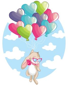 Drucken little bunny fly with love balloon süße handgezeichnete elemente und design für kinderzimmer-design, poster, geburtstagsgrußkarte