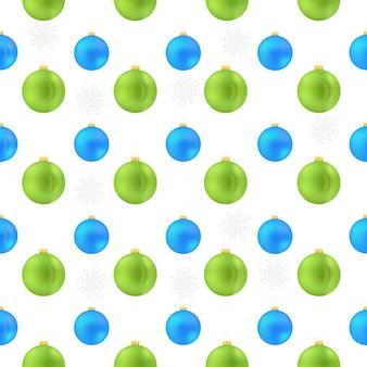 Drucken sie das weihnachtskugelmuster, das blau und grün ist