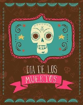 Drucken sie den mexikanischen totenkopf-tag der toten karte