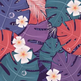Drucken sie purpurrote tropische hintergrundvektorkunsttropen