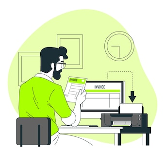 Drucken von rechnungskonzeptillustrationen