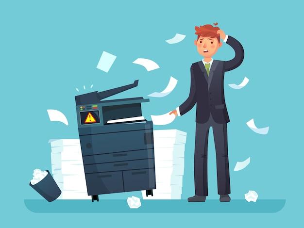 Drucker defekt. verwirrter geschäftsarbeiter brach kopierer, bürokopiergerät und viele papierdokumente cartoonillustration