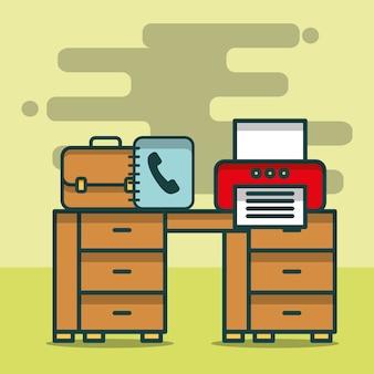 Drucker-telefonbuch-geschäftsaktenkoffer auf schreibtischbüro