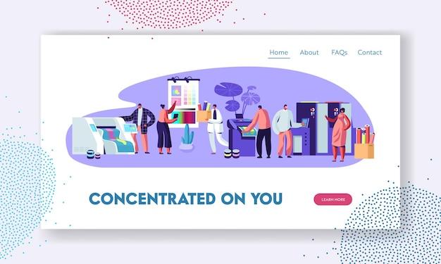 Druckerei oder werbeagentur, polygraphieindustrie. website-landingpage-vorlage