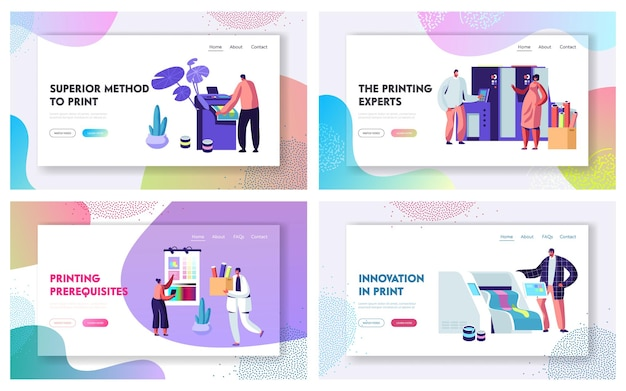 Druckerei werbeagentur website landing page templates set