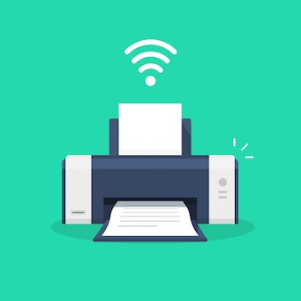 Druckersymbol mit wlan-symbol oder tintenstrahlfax wi-fi-drucktechnologie piktogramm flache cartoon-illustration isoliert
