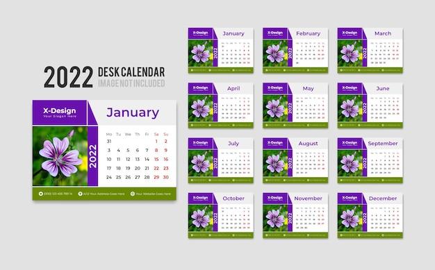 Druckfertige tischkalendervorlage für das jahr 2022, die am montag beginnt