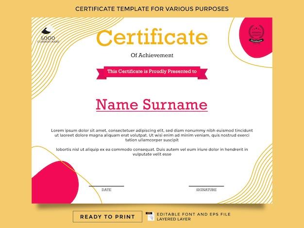 Druckfertige zertifikatsvorlagen für verschiedene zwecke