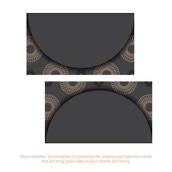 Druckfertiges graues visitenkartendesign mit griechischen mustern. visitenkartenvorlage mit platz für ihren text und vintage-ornamente.