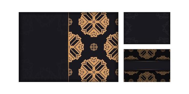 Druckfertiges postkartendesign in schwarz mit slowenischen mustern. einladungskartenvorlage mit platz für ihren text und vintage-ornamente.