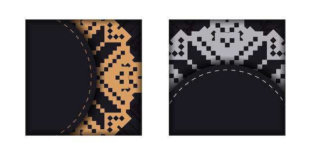 Druckfertiges postkartendesign in schwarz mit slowenischen mustern. vektor-einladungskartenvorlage mit platz für ihren text und vintage-ornamente.