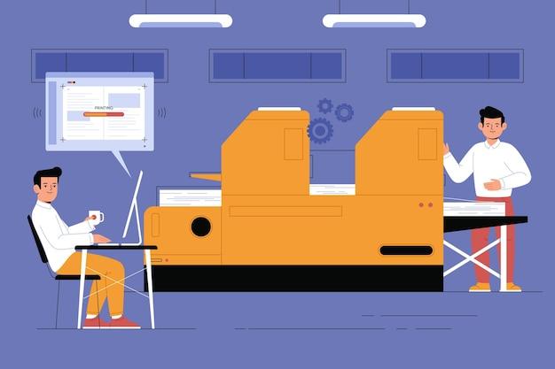 Druckindustrie mit flachem design
