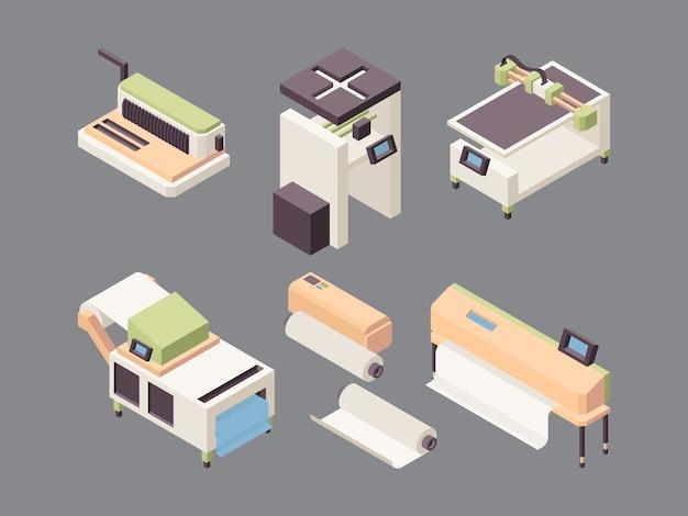 Druckservice. offsetdrucker vinylkartendruckplotter falzmaschinen und cutter für papier isometrisch